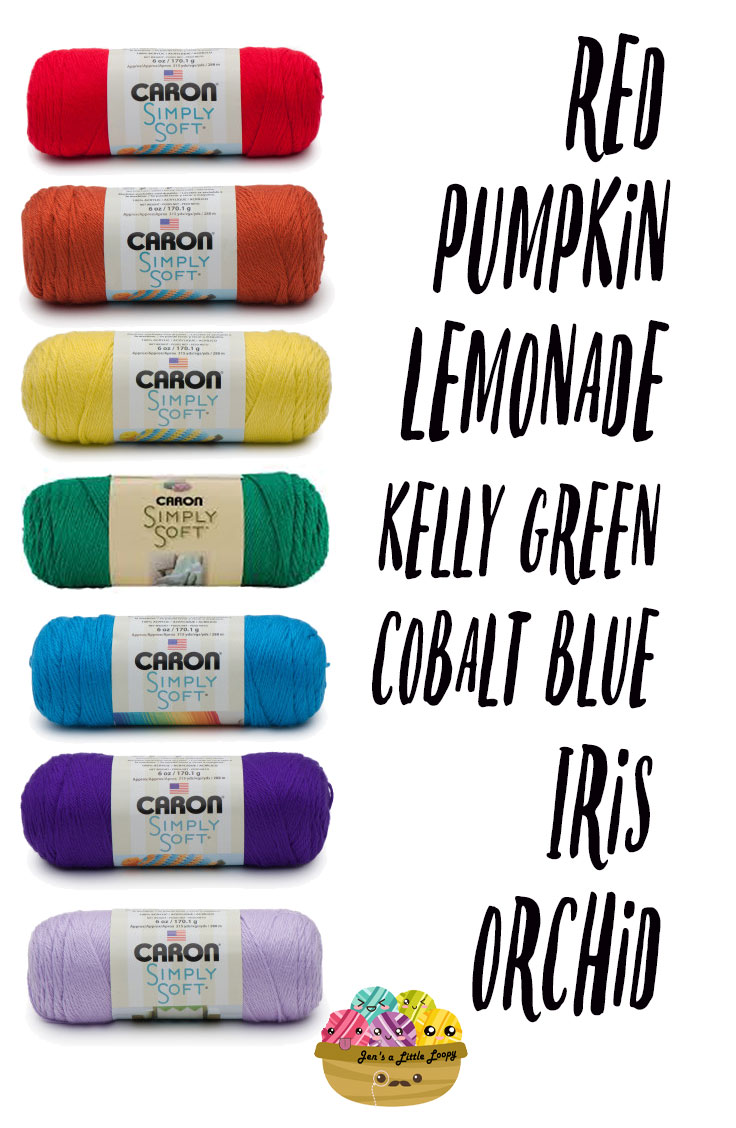 Caron Simply Soft Primary Rainbow Yarn Shopping List