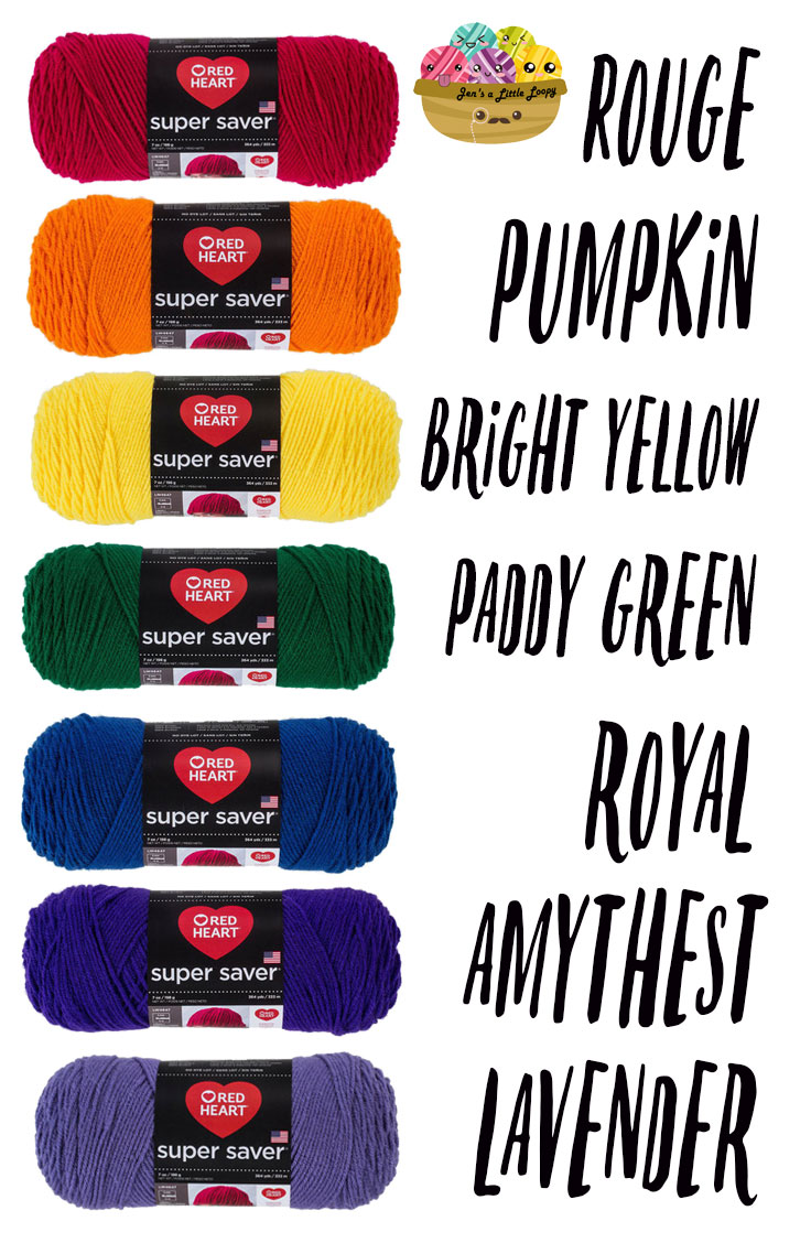 Red Heart Super Saver Primary Rainbow Yarn Shopping List