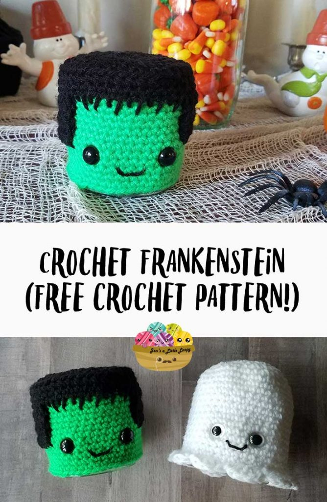 With just a little bit of yarn and about an hour of time, you can make this adorable crochet Frankenstein to dress up your Halloween mantel. This quick Halloween craft would be a great hostess gift or teacher gift as well!
