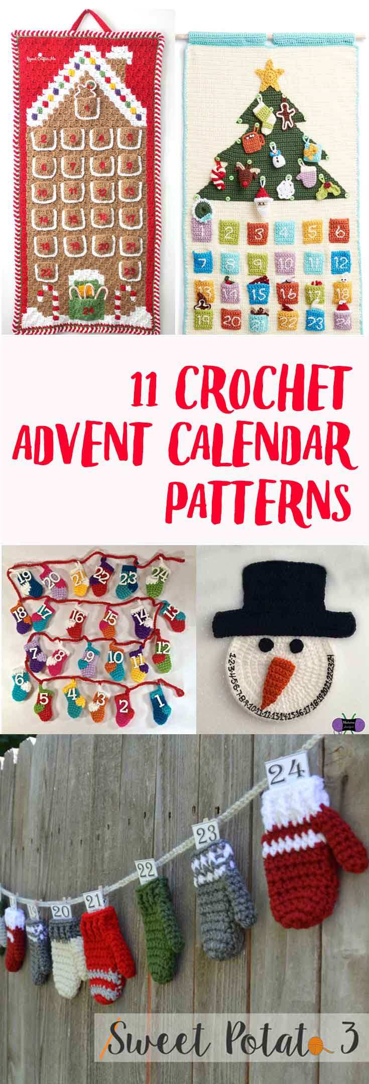 11 of the most awesome crochet advent calendar patterns! Spend less time search and more time crocheting with this roundup!