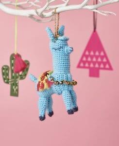 crochet llama ornament