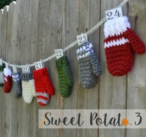 crochet advent calendar mittens