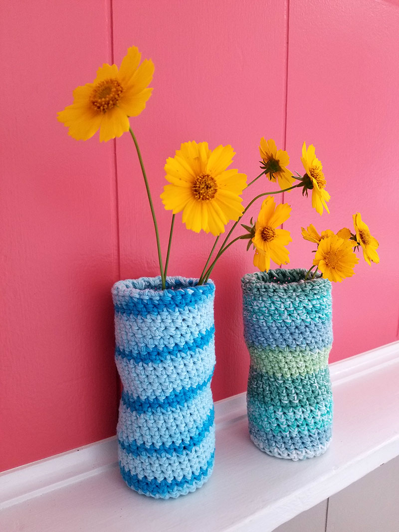 Crochet plastic water bottle upcycle project - quick, easy, and cheap!