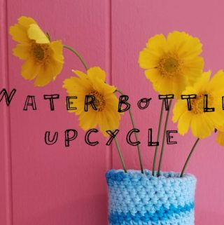 Crochet plastic water bottle upcycle project - quick, easy, and cheap! #crochet #upcycle #crochetpattern #freecrochetpattern #crochetvase #waterbottlecover