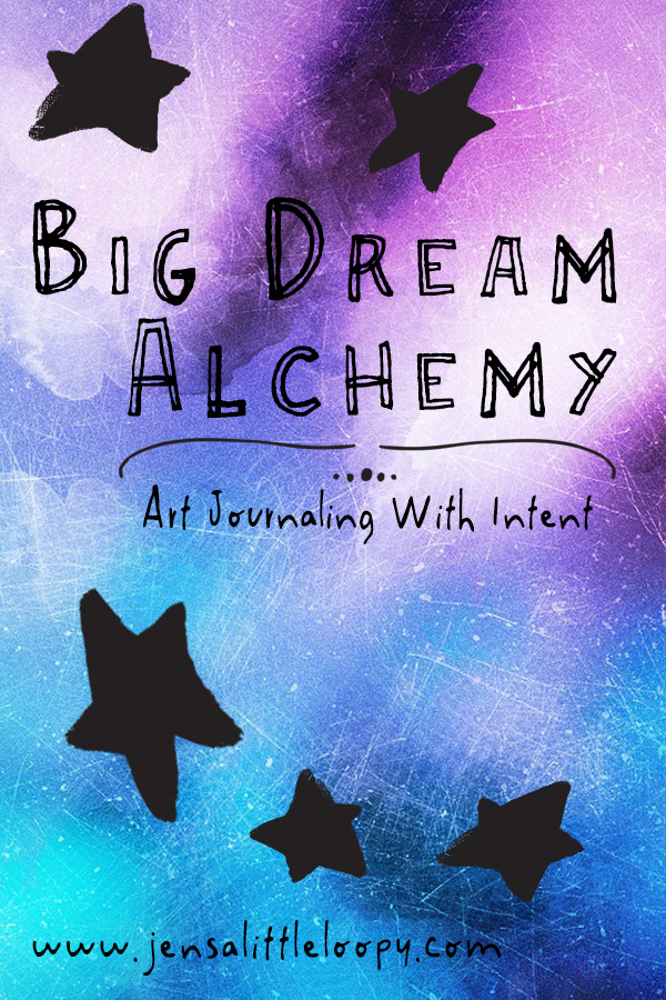 Big Dream Alchemy is art journaling with intent – a mashup of vision boards, vision journaling, and art journaling. It's a sneaky way to scoot around your *no no, you can't do that* left brain and dive deep into whatever your Big Dream is. It's a way to nurture your creative spirit and grow your artistic skills while at the same time working on (and living in) your Big Dream. #artjournal #artjournaling #visionboard #visionboardideas #manifestation #inspiration