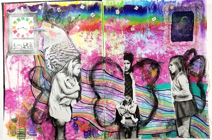Art journal spread, three girls practicing social distancing.