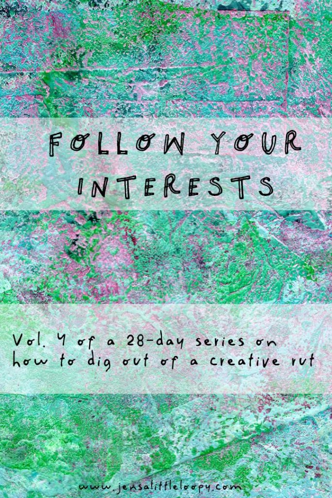 Following your interests is fantastic for your creative practice! Learning new things not only helps you get out of creative ruts, it can also support the work you're already doing while growing your brain in the process. Let's talk about that! #creativity #motivation #creativerut