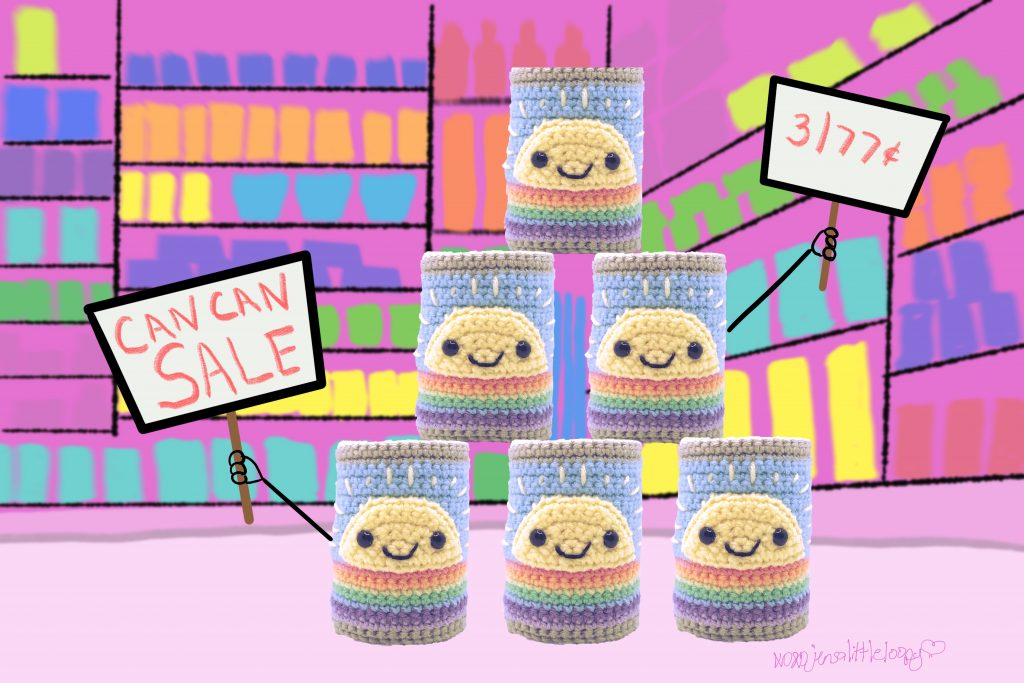 A stack of crocheted cans in a grocery store crocheted and illustrated by jensalittleloopy.