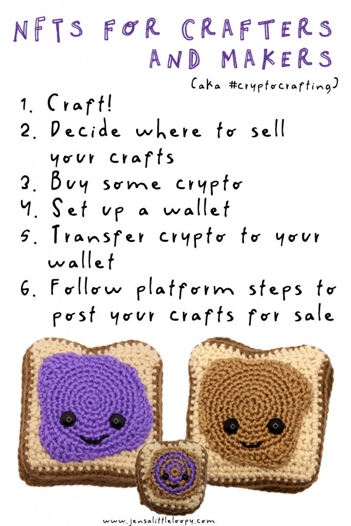 Crocheted peanut butter and jelly.